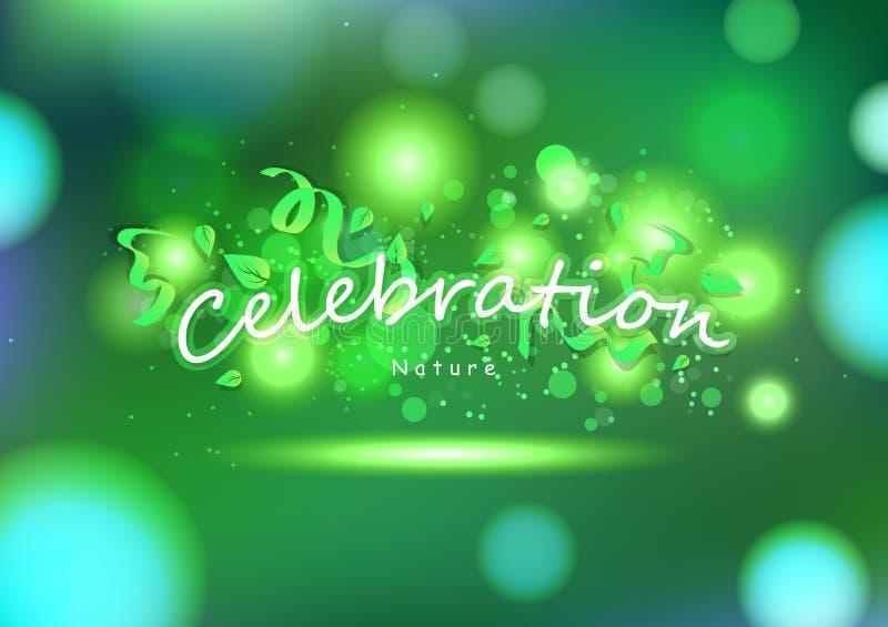 Feier, grüne Natur, Parteizusammenfassungshintergrund, Dekoration mit Blättern und Bänder, Grußkarten-Festivalfeiertagsvektor lizenzfreie abbildung