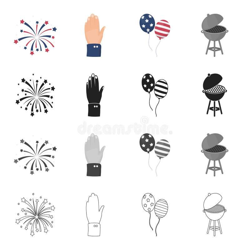 Feier, Gruß, Festlichkeiten und andere Netzikone in der Karikaturart Amerika, Grill, Metall, Ikonen in der Satzsammlung stock abbildung