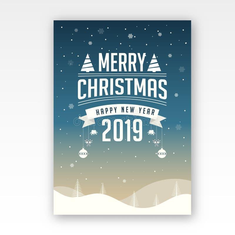 Feiergrußkarten-DES des guten Rutsch ins Neue Jahr und der frohen Weihnachten lizenzfreie abbildung