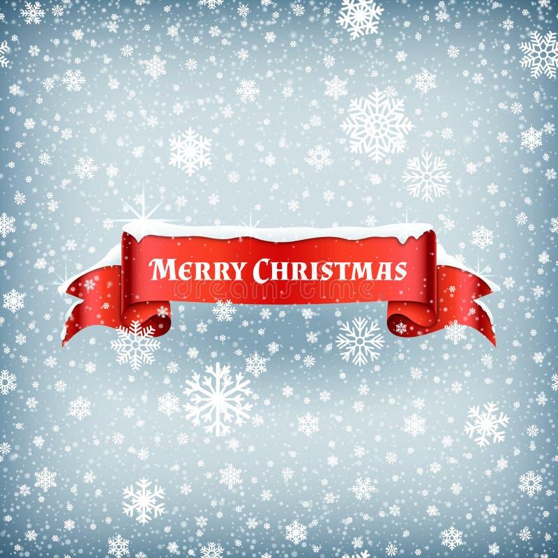 Feierhintergrund der frohen Weihnachten mit fallendem Schnee und rotes Fahnenband vector Illustration stock abbildung