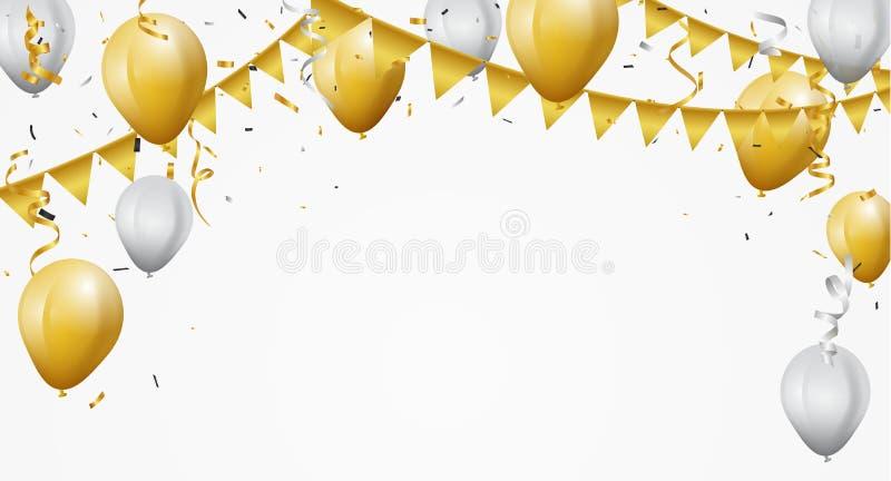 Feierhintergrund mit Gold und weißen Ballonen vektor abbildung