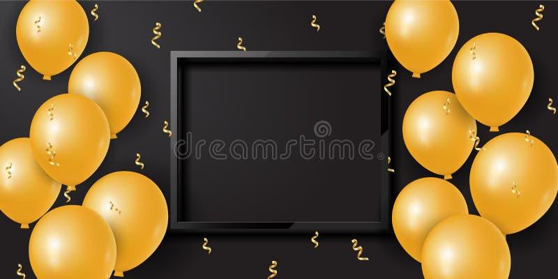 Feierhintergrund mit goldenen Ballonen 3d und Serpentinen- und leerem Raum Vektor stock abbildung