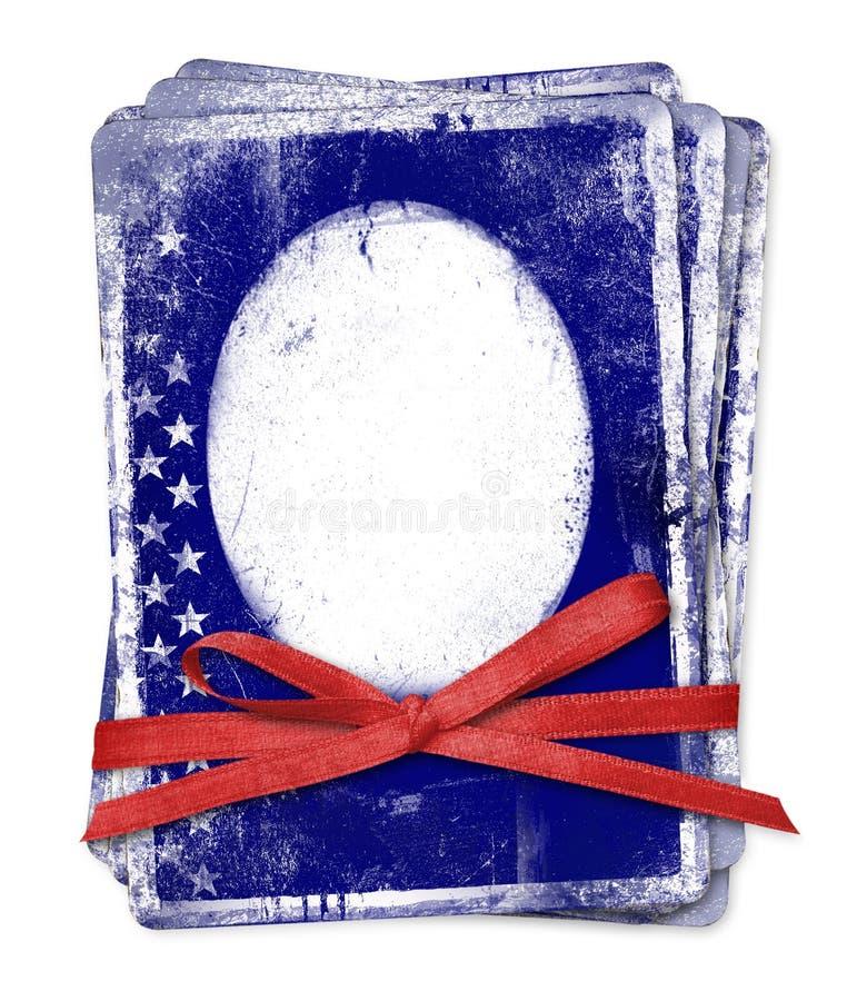 Feierkarte mit patriotischen Symbolen von Amerika lizenzfreie abbildung