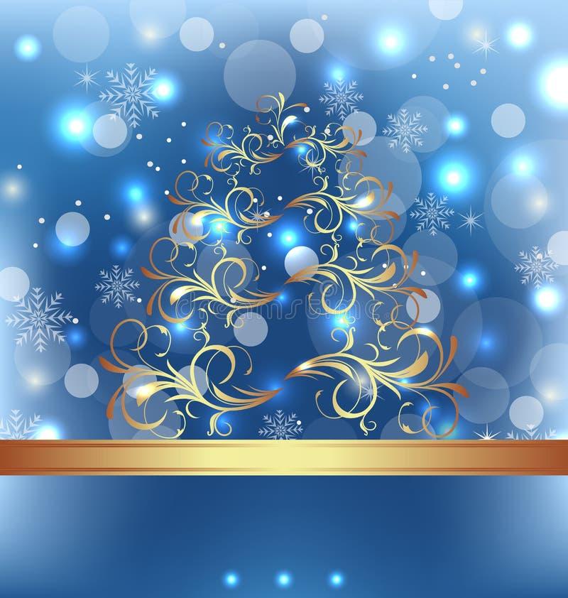 Feierkarte mit Weihnachtsblumenbaum lizenzfreie abbildung