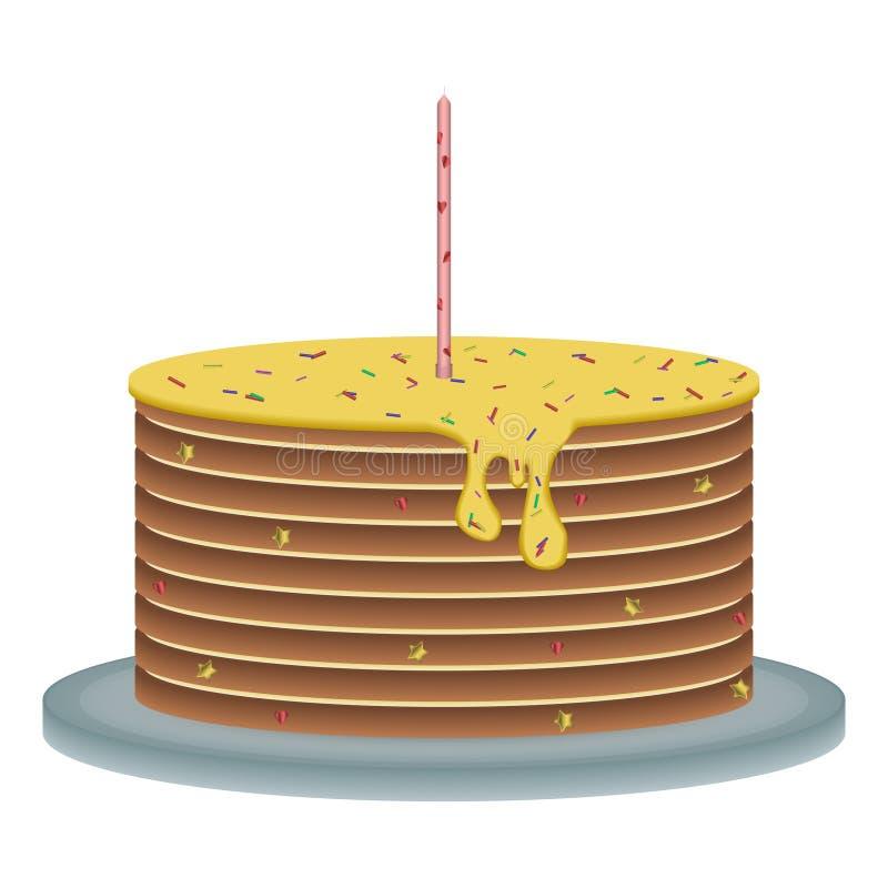 Feierlicher Kuchen mit einer Kerze lizenzfreie abbildung
