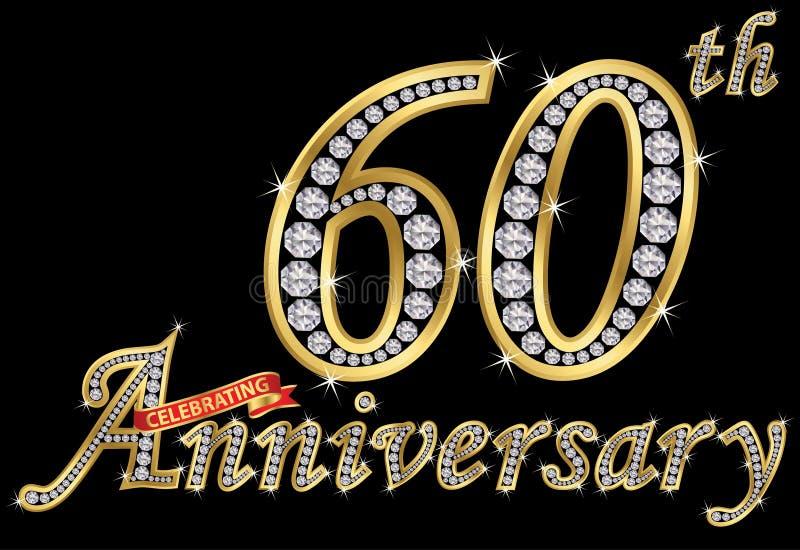 Feiern des goldenen Zeichens des 60. Jahrestages mit Diamanten, Vektor vektor abbildung