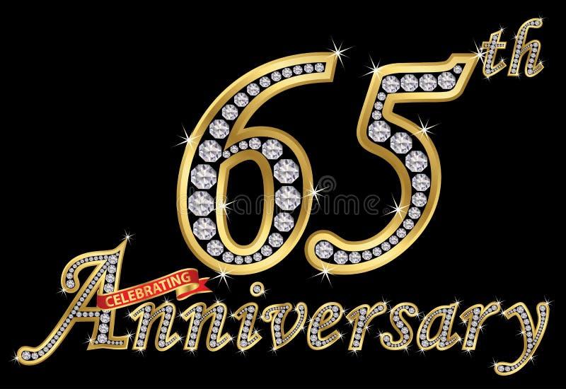Feiern des goldenen Zeichens des 65. Jahrestages mit Diamanten, Vektor vektor abbildung