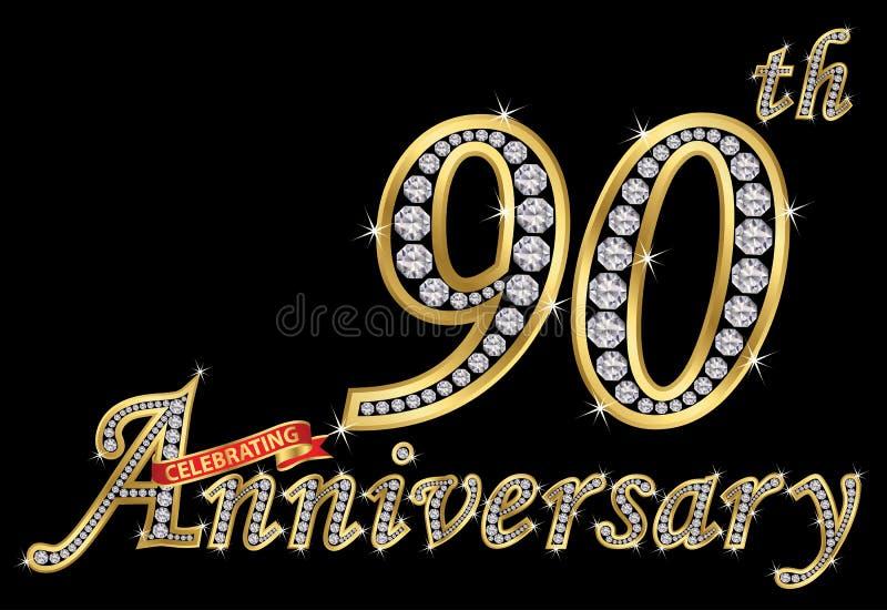 Feiern des goldenen Zeichens des 90. Jahrestages mit Diamanten, Vektor lizenzfreie abbildung