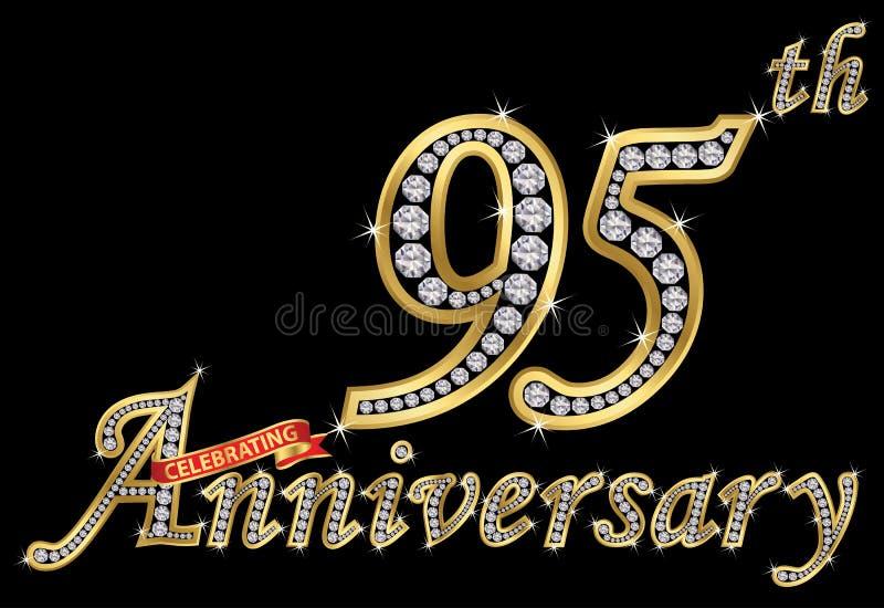 Feiern des goldenen Zeichens des 95. Jahrestages mit Diamanten, Vektor stock abbildung