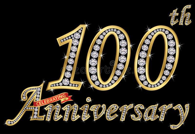 Feiern des goldenen Zeichens des 100. Jahrestages mit Diamanten, Vektor vektor abbildung