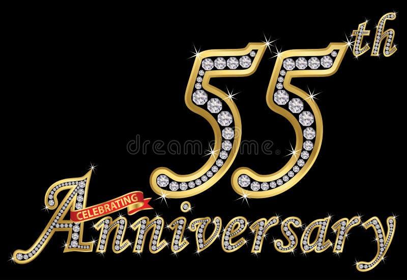 Feiern des goldenen Zeichens des 55. Jahrestages mit Diamanten, Vektor stock abbildung