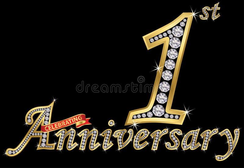 Feiern des goldenen Zeichens des 1. Jahrestages mit Diamanten, Vektor I vektor abbildung