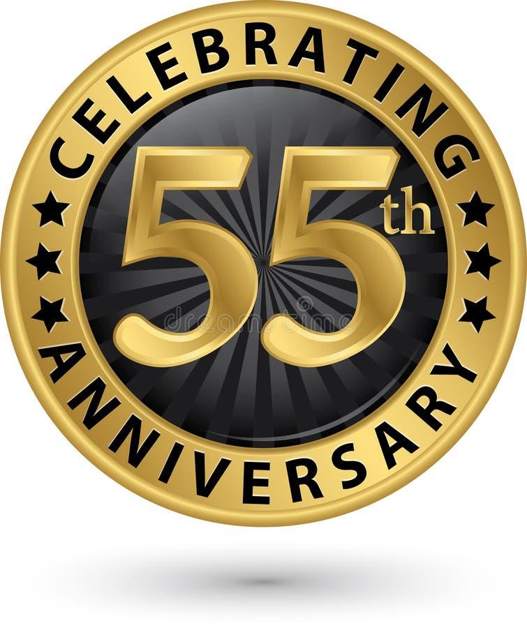Feiern des 55. Jahrestagsgoldaufklebers, Vektor stock abbildung