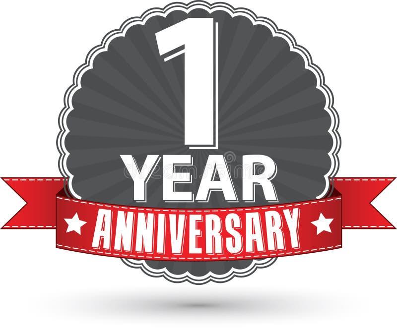 Feiern des Retro- Aufklebers des 1-jährigen Jahrestages mit rotem Band, vect lizenzfreie abbildung