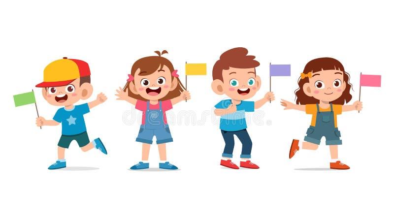 Feiern Sie den Nationalfeiertag mit der hübschen Fahne des glücklichen Kindes stock abbildung