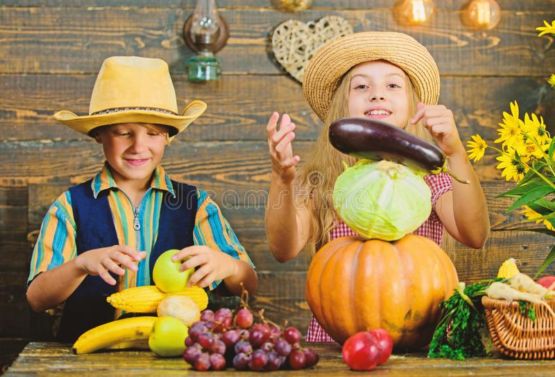 Feiern Sie Erntefeiertag Volksschulefallfestivalidee Herbsterntefest Kinderspielgem?se stockfotografie