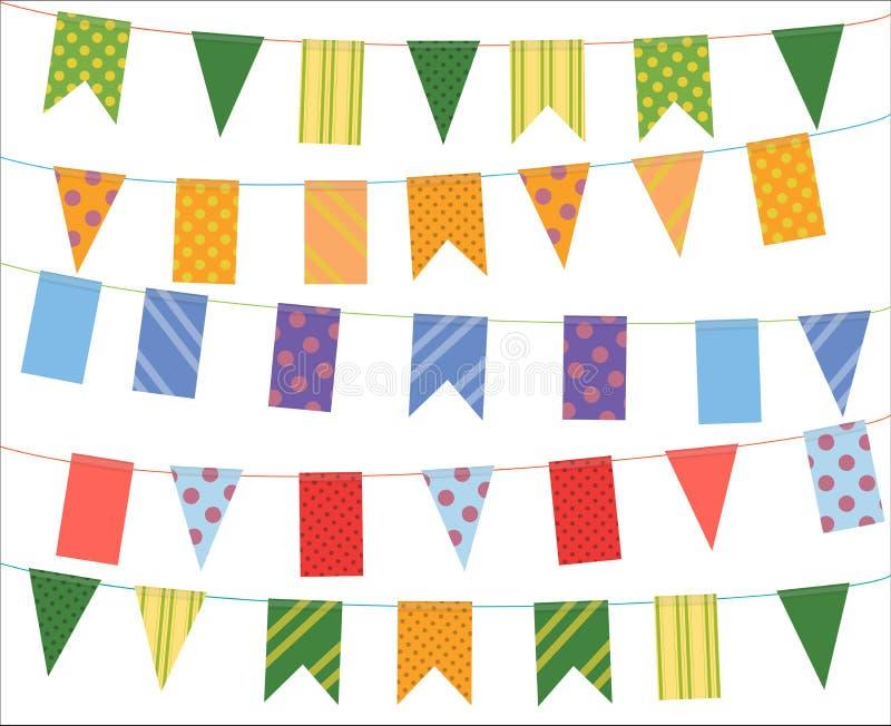 Feiern Sie Fahne Parteifestivalflaggen-Sammlungssatz stock abbildung