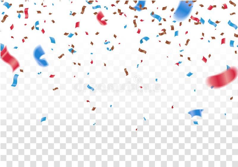 Feiern Sie Fahne Parteiflaggen mit Konfettis Vektorillustrations-Designschablone Gl?cklicher Feiertag des Fallens gl?nzend lizenzfreie abbildung
