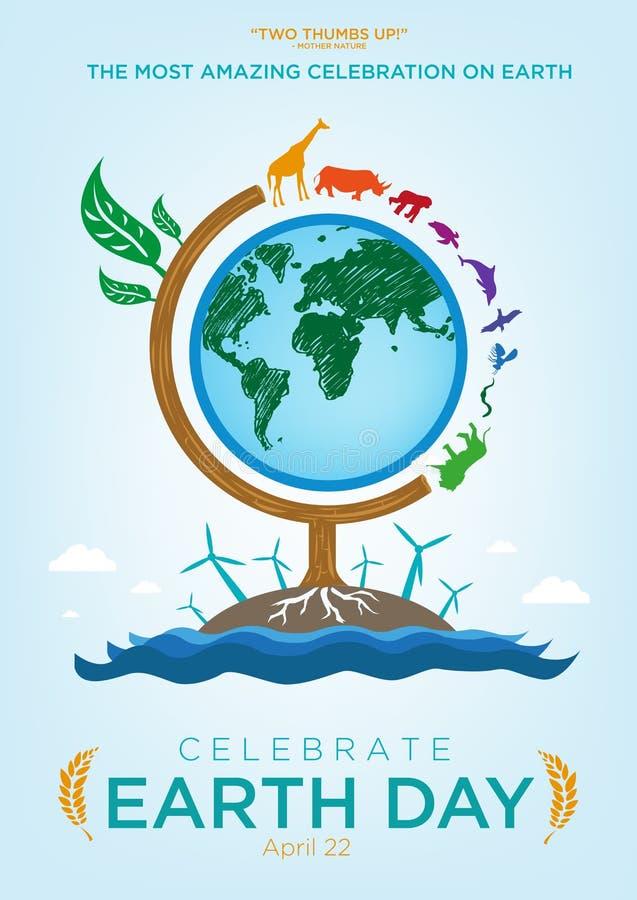 Feiern Sie Tag der Erde-Logo- und Plakatschablonendesign stock abbildung