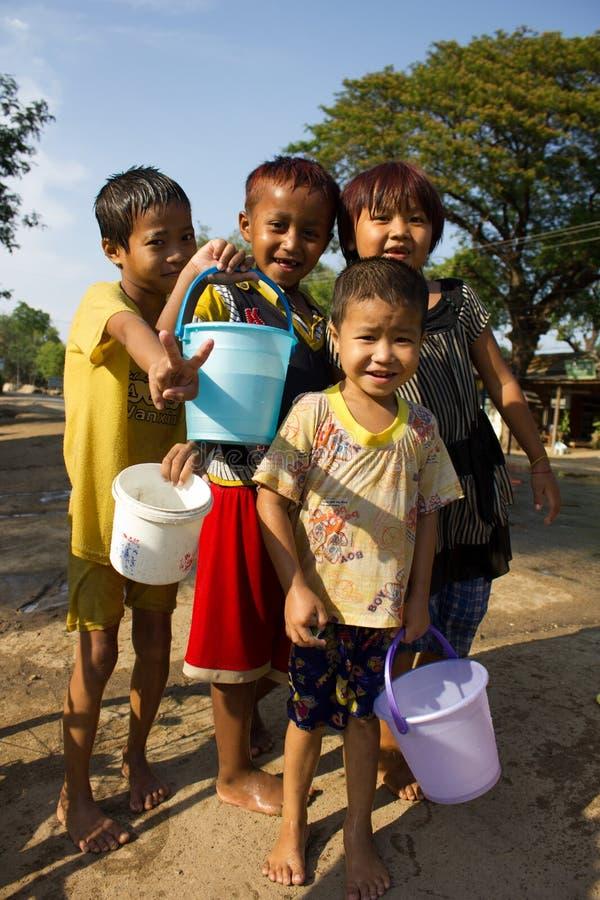 Feiern von Wasser-Festival 2012 auf Myanmar lizenzfreies stockfoto
