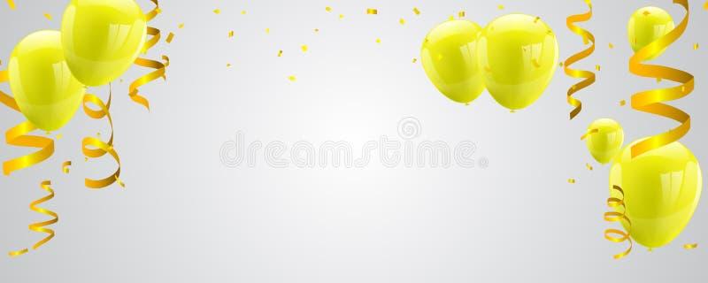 Feierparteifahne mit gelben Ballonen auf weißem Hintergrund vektor abbildung