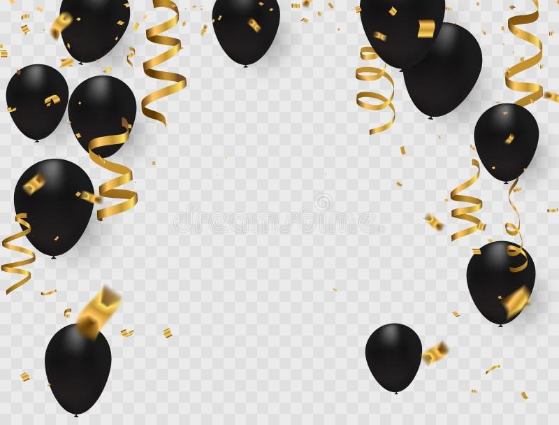 Feierparteifahne mit Gold steigt auf weißem Hintergrund im Ballon auf vektor abbildung