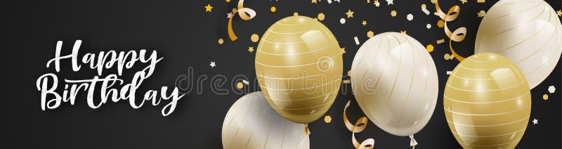 Feierparteihintergrund mit den wei?en und goldenen Ballonen und Serpentin lizenzfreie abbildung