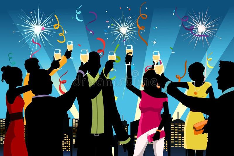Feierparty des neuen Jahres lizenzfreie abbildung