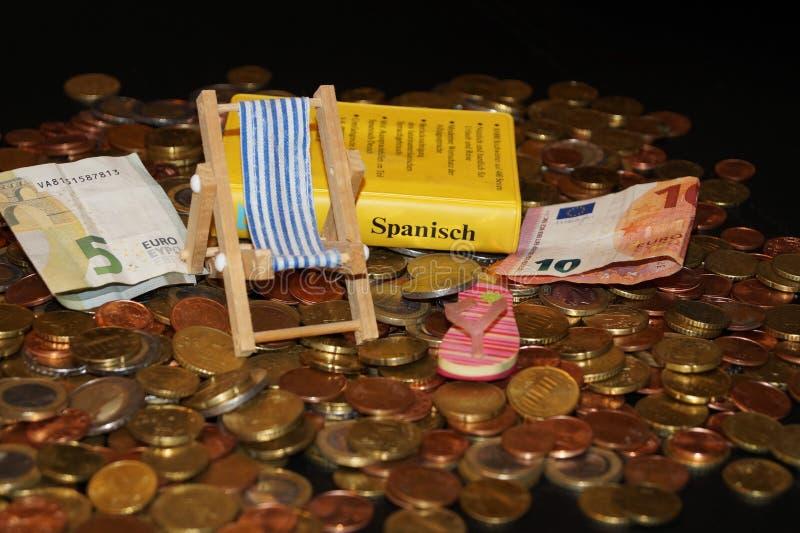 Feiertag geld- die Kosten des Reisens stockbild