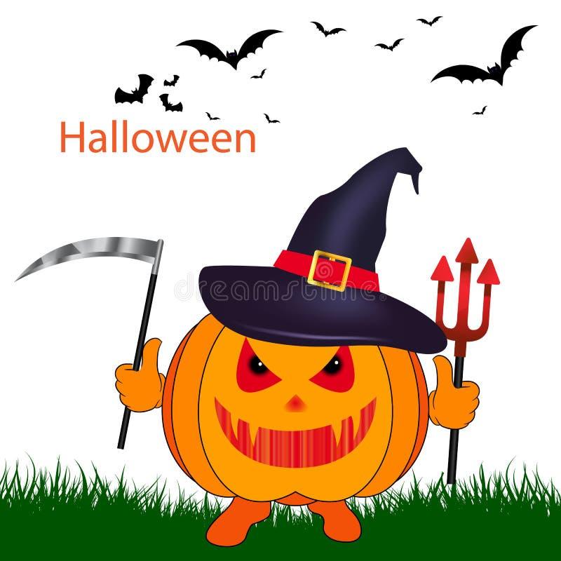 Feiertag Halloween, Kürbis mit einer Sense in einem Hut, auf einem weißen Ba stockbild