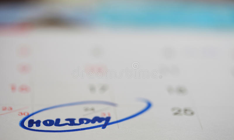 Feiertag im Kalender stockfotos