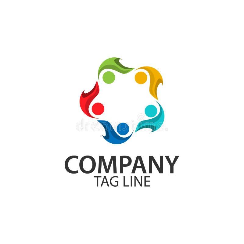 Feiertag mit AnzeigenSchnelldruckerpapier vectorTeam, das zusammenarbeitet Gruppe von Personen Team Arbeit Logovektor stock abbildung