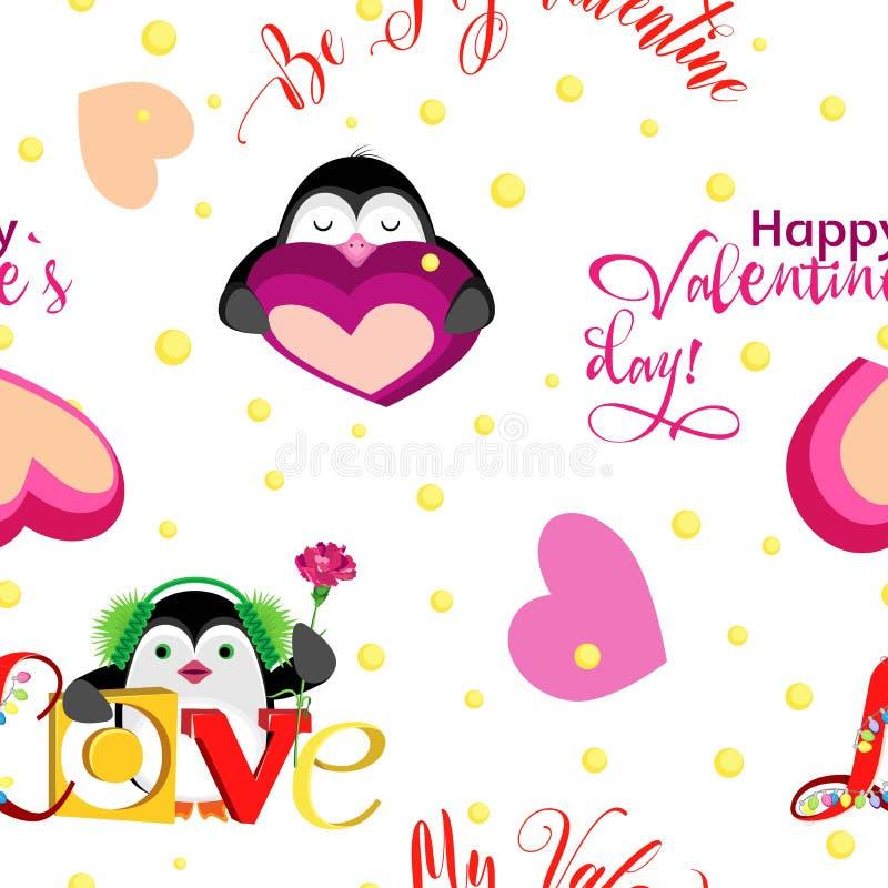 Feiertag, Valentinsgruß ` s an Tag mit Feiertagspinguinen und an den Aufschriften lizenzfreie stockfotos
