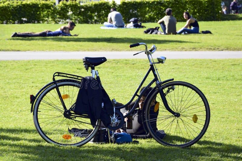 Feiertage, freier Tag, Ferien, Erholung im Freien - ein junger Mann mit einem Fahrrad steht auf dem grünen Rasen des Stadtparks s lizenzfreie stockfotografie
