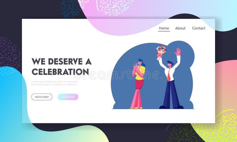 Feiertage-Website Landing Page Feierliche Bekleidung von Mann und Frau mit BlumenBouquet Celebrate Jubiläum vektor abbildung