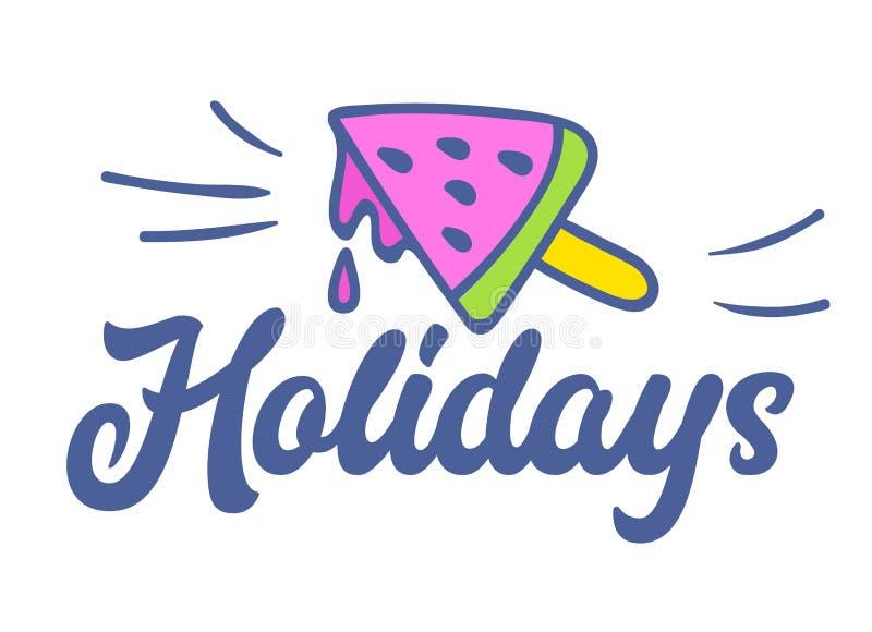 Feiertags-bunte Typografie mit Gekritzel-Elementen, schmelzender Wassermelonen-Eiscreme auf Stock, Aufkleber oder Ausweis Schablo lizenzfreie abbildung