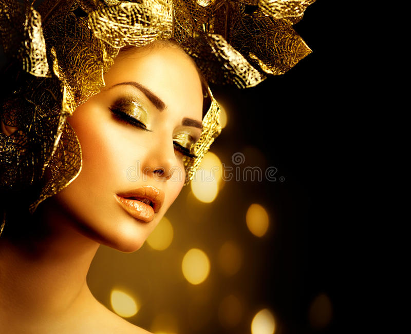 Feiertags-goldenes Make-up stockbild
