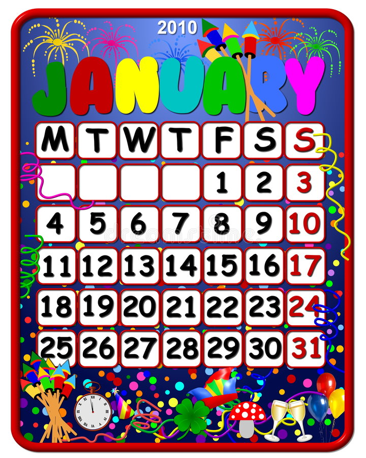 Feiertags-Januar 2010-Kalender lizenzfreie abbildung