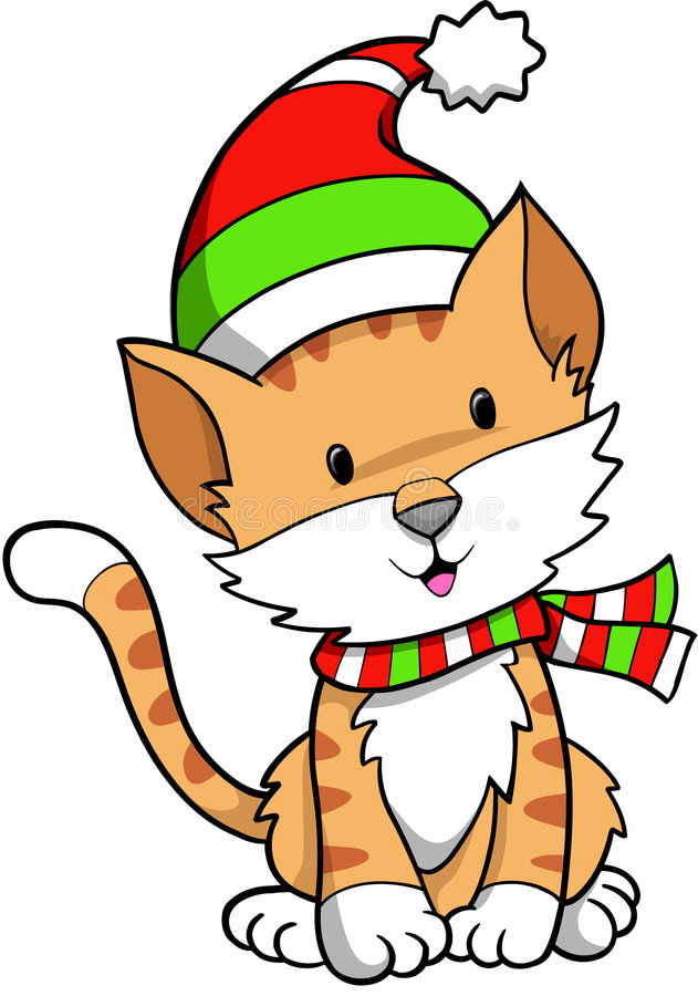 Feiertags-Katze-Vektor stock abbildung