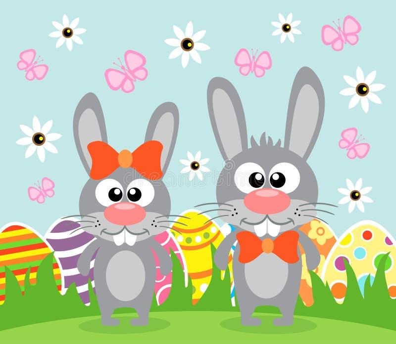 Feiertags-Ostern-Hintergrund mit lustigen Kaninchen vektor abbildung