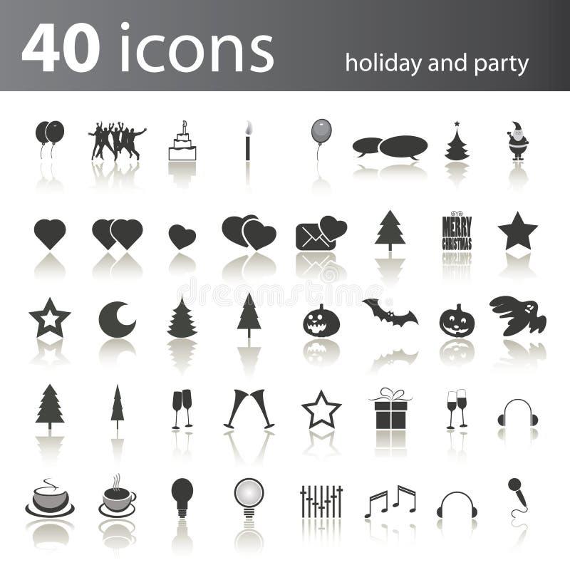 40 Feiertags-und Partei-Ikonen vektor abbildung