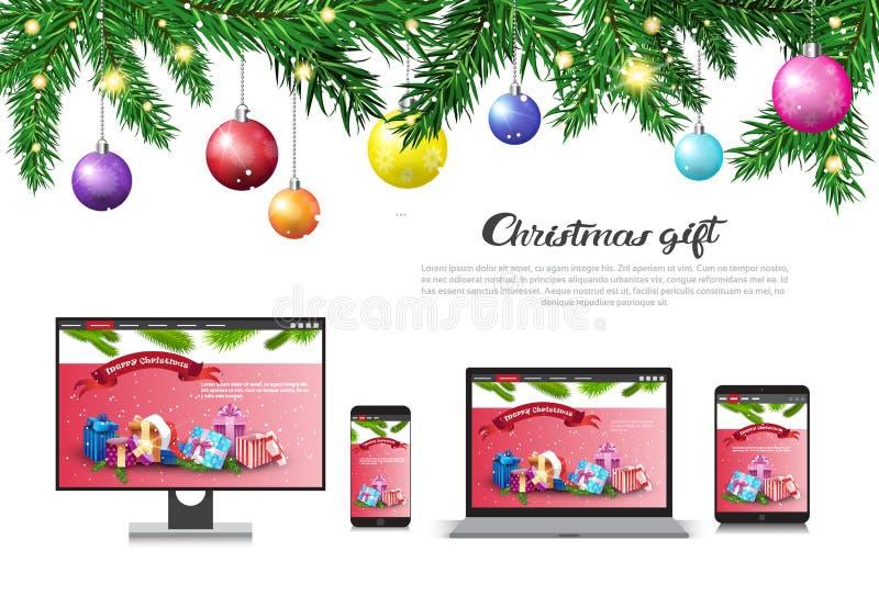 Feiertags-Verkauf auf neuem Jahr des modernen Gerät-Weihnachtsgeschenk-Konzeptes rechnet Werbungs-Plakat ab stock abbildung