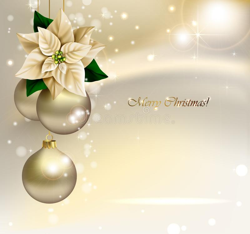Feiertags-Weihnachtshintergrund mit Goldabendbällen vektor abbildung