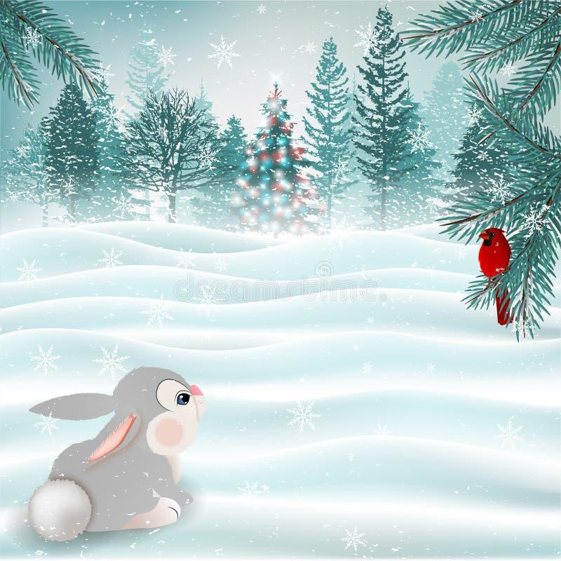 Feiertags-Weihnachtsszene mit nettem Häschen und hauptsächlichem Vogel Vektor lizenzfreie abbildung