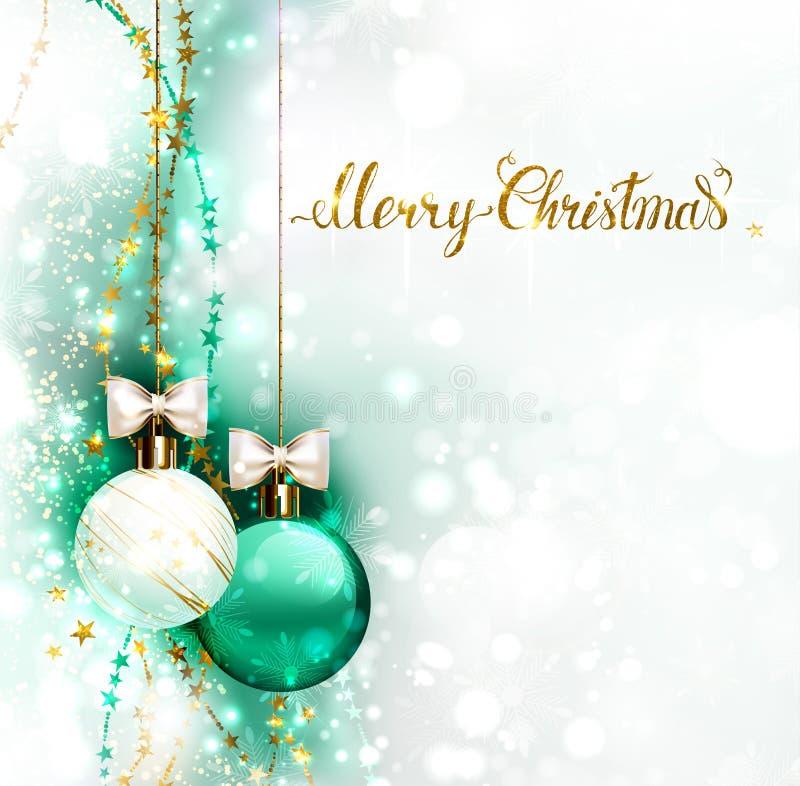Feiertagsabendbälle mit weißen Bögen Beschriftung der frohen Weihnachten Goldauf dem Glanz schimmerte Hintergrund lizenzfreie abbildung