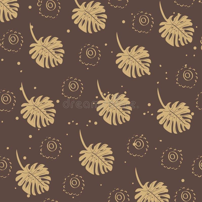 Feiertagsblumenmuster Goldener Hintergrund des Vektors mit von Hand gezeichneten Blumen vektor abbildung