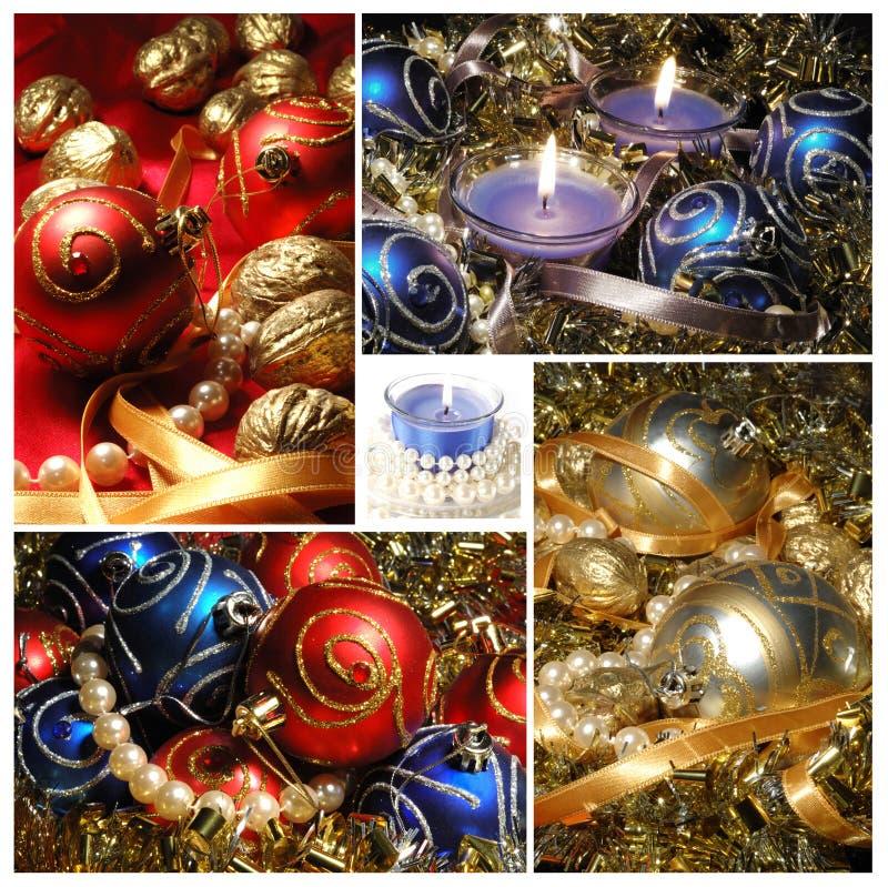 Feiertagscollage mit Weihnachtsbaumdekorationen für Ihr Design stockbild