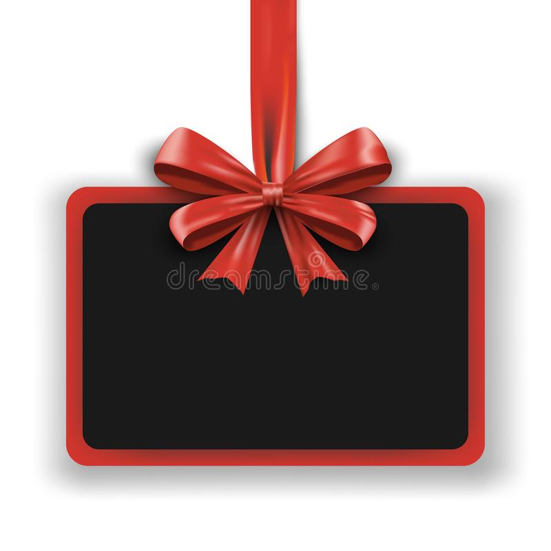 Feiertagsdesignschablone Einladungswerbungsfahne mit rotem Bogenband Weihnachtsförderungsplakat für großen Verkauf lizenzfreie abbildung