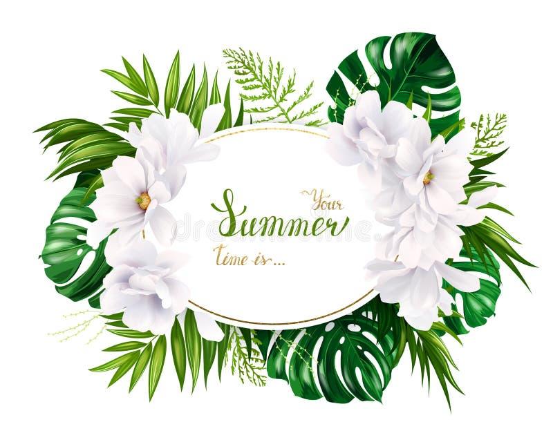 Feiertagsfahne Mit Tropischer Palme, Monstera Blättern Und Blühenden ...