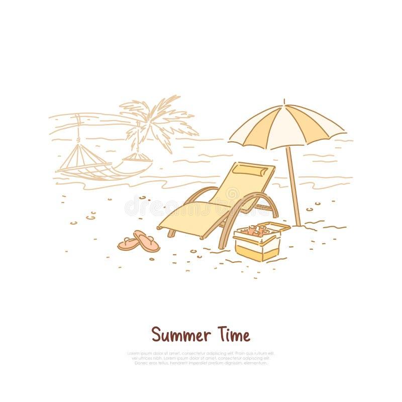 Feiertagsferien, tropischer Strand mit Hängematte auf Palme, Regenschirm, Getränke in der Kühltasche, Reisebüroservice-Fahne lizenzfreie abbildung